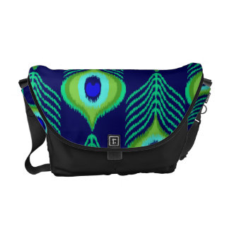 Peacock feather moroccan ikat design commuter bag
