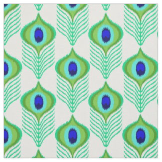 Peacock feather moroccan ikat design fabric