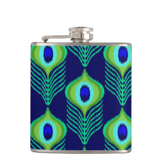 Peacock feather moroccan ikat design hip flask