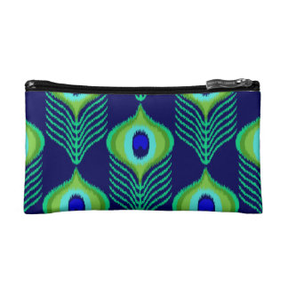 Peacock feather moroccan ikat design makeup bag