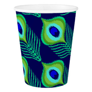 Peacock feather moroccan ikat design paper cup