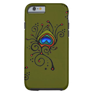 Peacock Feather Olive Green Tough iPhone 6 Case