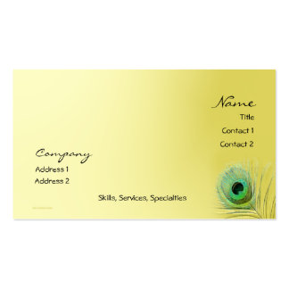 Peacock Feather on Gold Blend Business Card Template