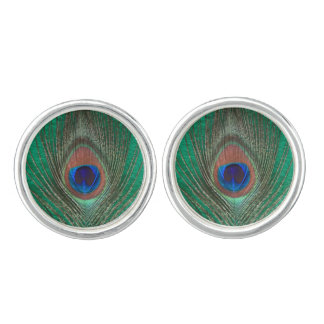 Peacock Feather on Green Cuff Links