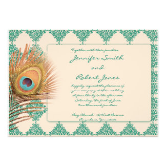 Peacock Feather on Teal Moroccan Tile Invitation
