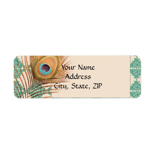 Peacock Feather on Teal Moroccan Tile Return Address Label