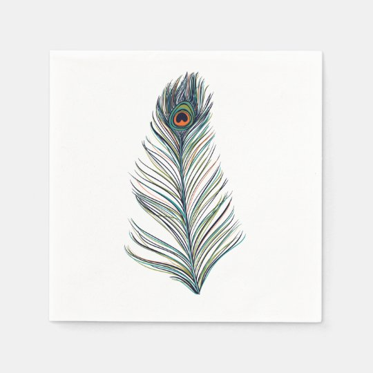 Peacock Feather Paper Napkins
