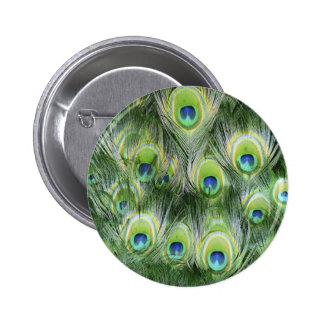 Peacock Feather Pattern 2 Inch Round Button