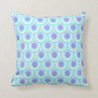 Peacock feather pattern blue throw pillow