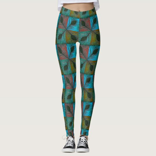 Peacock feather pattern Leggings