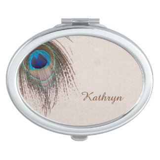 Peacock Feather Personalized Travel Mirrors