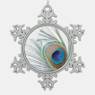 Peacock Feather Pewter Snowflake Ornament
