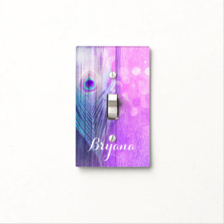 Peacock Feather Pink & Blue Boho Chic Glam Custom Light Switch Cover