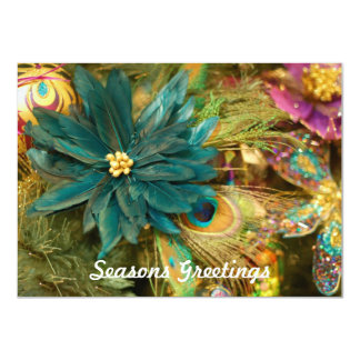 Peacock Feather Poinsettia Flat Christmas Card