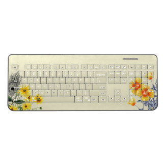 Peacock Feather Poppy Flowers Wireless Keyboard