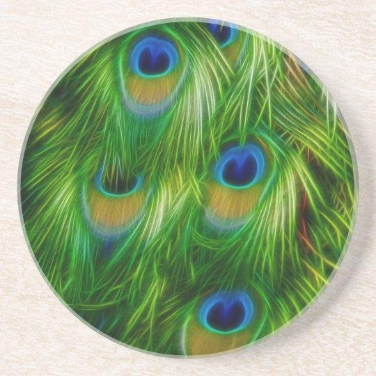 Peacock Feather Print Coaster