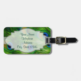 Peacock Feather Print Luggage Tag