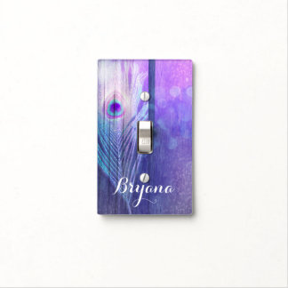 Peacock Feather Purple Glam Boho Chic Glam Custom Light Switch Cover