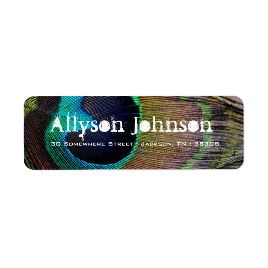 Peacock Feather Return Address Labels