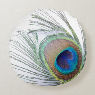 Peacock Feather Round Pillow