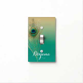 Peacock Feather Sand and Teal Boho Glam Elegant Light Switch Cover