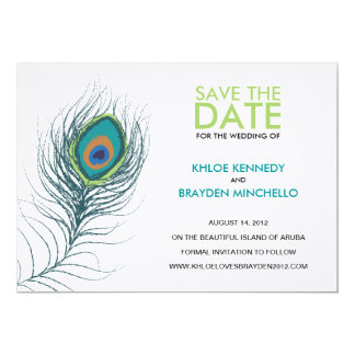 """Peacock Feather Save the Date 5"""" X 7"""" Invitation Card"""
