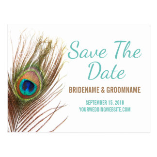 Peacock Feather Save The Date Postcard