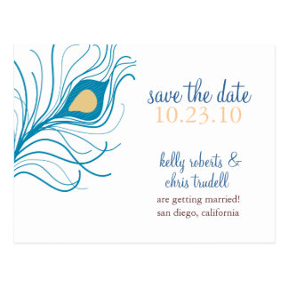Peacock Feather Save The Date postcard yellow