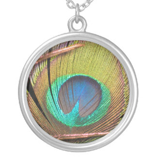 Peacock Feather Silver Plated Necklace