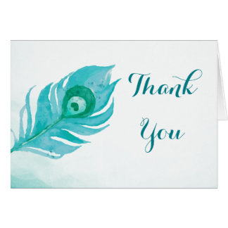 Peacock Feather Watercolor Thank You Card