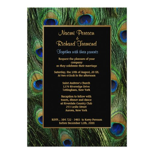 Peacock Feather Wedding Invitation Announcements