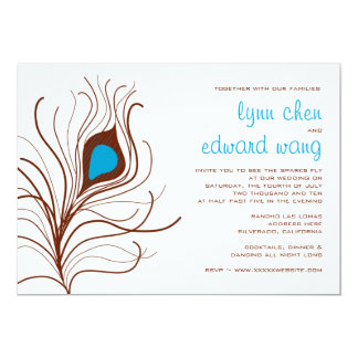 Peacock Feather Wedding invite, Brown Card