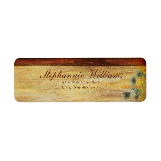 Peacock Feather Wedding Return Address Label