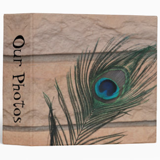 Peacock Feather with Bricks 3 Ring Binder