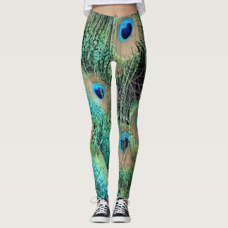 Peacock Feather With New grouth Leggings