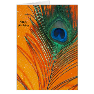 Peacock feather with Orange Glitter Still Life Card