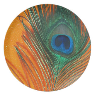 Peacock feather with Orange Glitter Still Life Dinner Plates