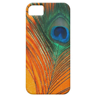 Peacock feather with Orange Glitter Still Life iPhone 5 Covers