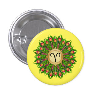 Peacock Feather Wreath Zodiac Sign Aries 1 Inch Round Button