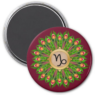 Peacock Feather Wreath Zodiac Sign Capricorn 3 Inch Round Magnet