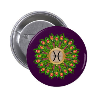 Peacock Feather Wreath Zodiac Sign Pisces 2 Inch Round Button