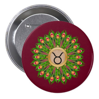 Peacock Feather Wreath Zodiac Sign Taurus 3 Inch Round Button