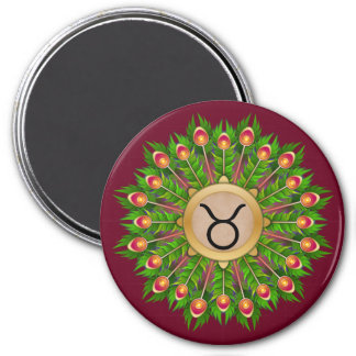 Peacock Feather Wreath Zodiac Sign Taurus 3 Inch Round Magnet