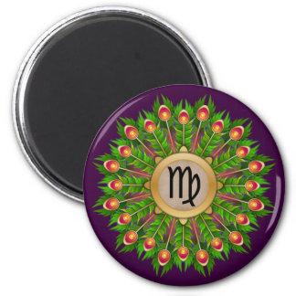 Peacock Feather Wreath Zodiac Sign Virgo 2 Inch Round Magnet
