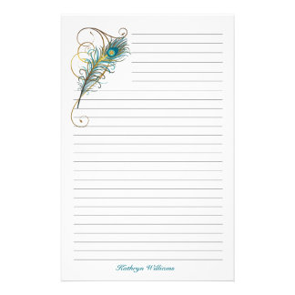 Peacock Feathered Teal and Golden Lined Custom Stationery