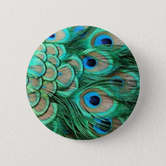 PEACOCK FEATHERS 2 INCH ROUND BUTTON