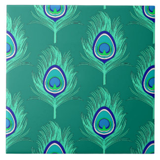 Peacock Feathers, Aqua on Turquoise / Peacock Tiles