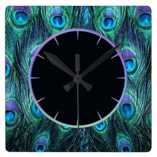 Peacock Feathers Aqua Square Wall Clock