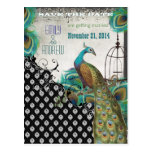 Peacock Feathers Birdcage Save the Date