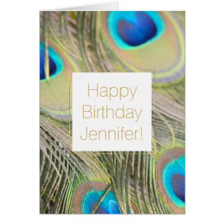 Peacock Feathers Birthday Personalized Card